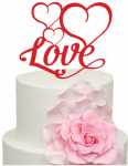 Love word with 3 Hearts Acrylic Cake Topper